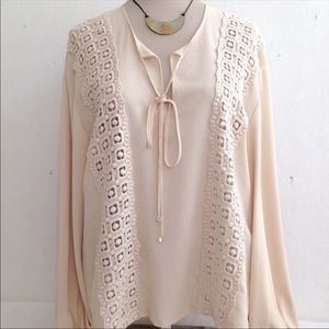 Zara Boho Lace Front Top
